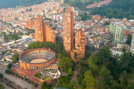 Panoramic aerial view of the City of Bogotá. Colombia