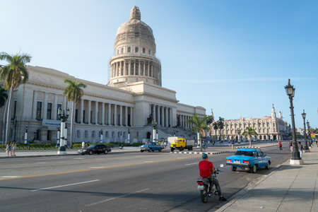 Old Havana Avenue in front of the Capitol of the City. one of the most visited avenues by international tourists for its history. Havana Cuba