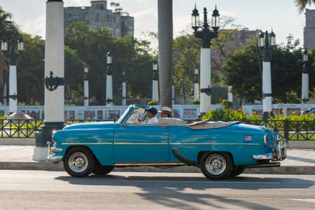 Touristic tour in a classic convertible car through the historic area of the old Havana. Havana Cuba February 2, 2019 写真素材 - 150565284