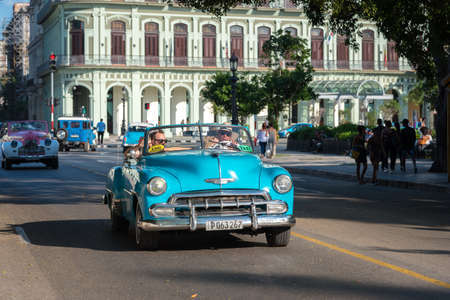 Convertible classic car used in old Havana for tours, these cars are very used by tourists and are a tradition of the city. Havana Cuba. February 2, 2019