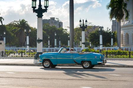 Touristic tour in a classic convertible car through the historic area of the old Havana. Havana Cuba February 2, 2019
