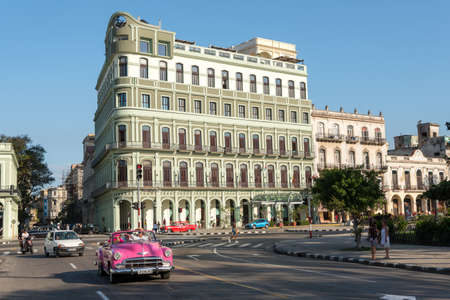 Facade of the Hotel Saratoga in the center of Old Havana, with an architect of the colonial era. One of the most representative buildings of its time. Havana Cuba. February 2, 2019 写真素材 - 150565289