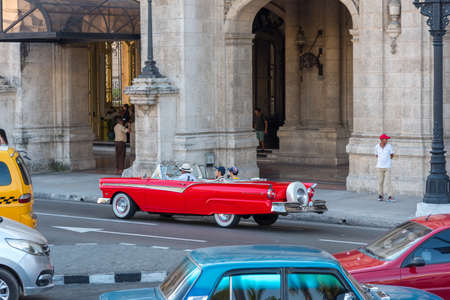 Classic convertible car on a tour through the streets of Havana. A very common activity in Old Havana. Havana.Cuba January 2, 2019. 写真素材 - 150565296