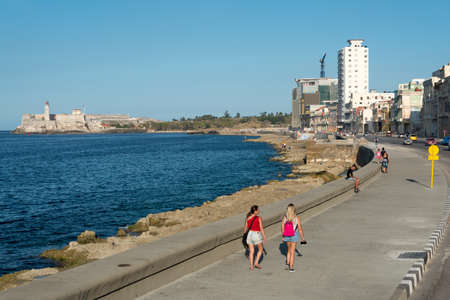Avenida del Malecón is one of the most famous streets in the city and used by locals and tourists alike for its proximity to the sea and the fresh breeze. Havana Cuba. January 2 .2019 写真素材 - 150565302