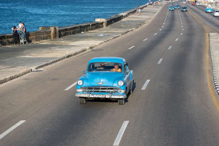 Classic taxi in Malecon Avenue in Havana, this type of transportation has become an attraction for tourists visiting the island. Havana. Cuba February 2, 2019.