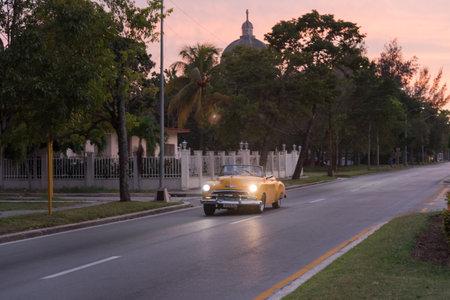 Classic taxi used in the Miramar residence area. The Havana. Cuba. December 28, 2018
