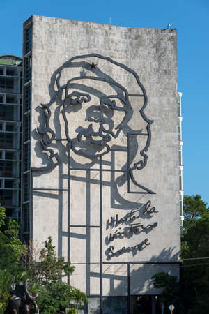 Façade of the Interior Ministry in Cuba with an image of Che Guevara symbol of the Cuban revolution. Havana. Cuba. January 2 2019