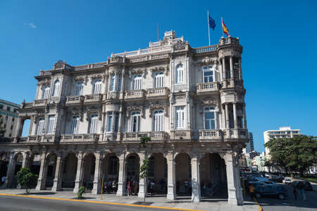 Embassy of Spain in Old Havana. It is one of the most visited embassies in the city. Havana. Cuba. January 2, 2019