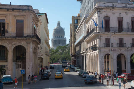 Streets of the old Havana road to the capitol where the sloppy joe's bar is located. One of the traditional places seen by tourists in Cuba. Havana Cuba. 2 January 2019