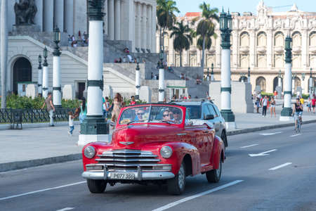 Old convertible taxi in the streets of Old Havana, is one of the most used attractions for tourists visiting the island.Habana.Cuba. January 2, 2019 写真素材 - 150565468