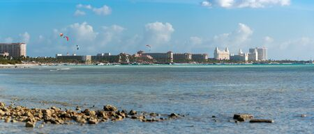 Panoramic view of Palm beach with its luxury hotels and beaches full of palm trees. Palm Beach. Aruba February 24, 2019