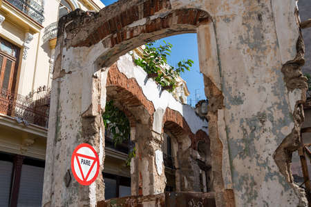 Exterior of old buildings in Havana in a state of ruin, only the structure remains. Havana. Cuba. January 10, 2020.