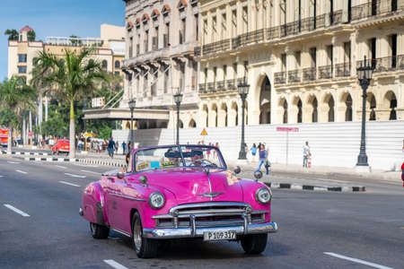 Classic cars are used in the tourist industry in Cuba with great success as well as colonial buildings. Cuba. January 10, 2020. Editoriali