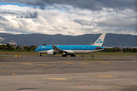 Airline KLM plane at the Bogota airport on the runway waiting for it to be parked. Bogota. Colombia. January 11, 2020.