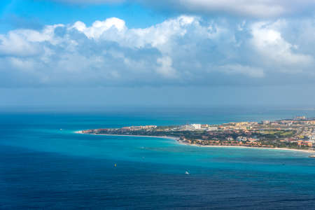 Aerial view of the island of Aruba on a sunny day. Aruba Netherlands Antilles.
