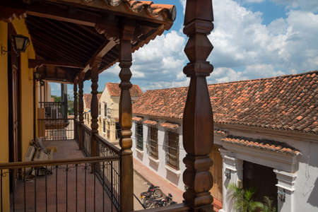 Streets with wooden balconies and old colonial style house. Mompox Colombia. 写真素材