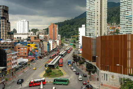 Aerial view of downtown Bogota at the 19 avenue roundabout with public transport traffic. Bogota Colombia. January 29, 2020