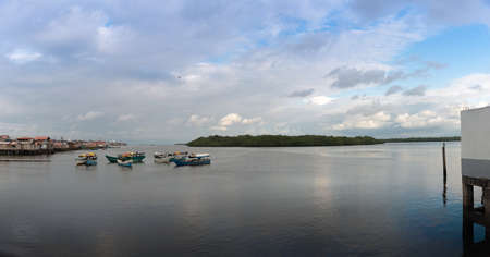 Panoramic view of mangroves and fishermen's houses of Tumaco on the Colombian Pacific coast. 写真素材