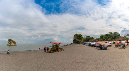 Panoramic beach full of vacationers on the Colombian Pacific coast. Tumaco. Colombia. November 24, 2019