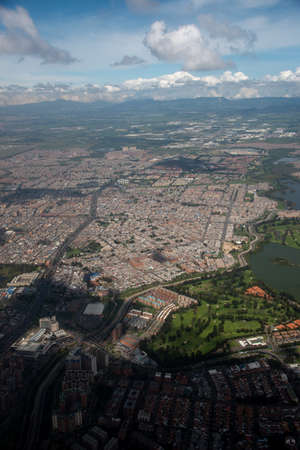 Aerial view of Bogota neighborhoods at sunset. Colombia. 写真素材