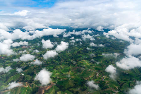 Aerial view of agricultural farms on the outskirts of the city of Medellín. Colombia.