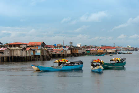 Fishing village with their daily work boats. tumaco .Colombia