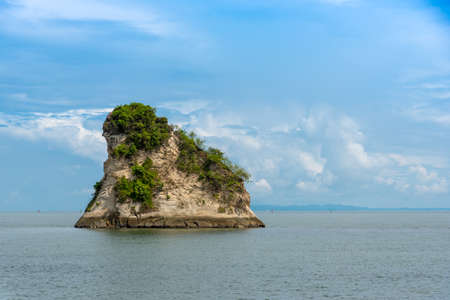 Large rock that emerges on a beach in Tumaco. Colombia. 写真素材
