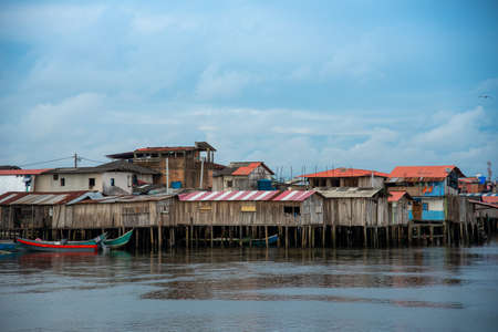 Wooden fisherman's house on stilts above the sea on the Pacific coast of Tumaco. Colombia. 写真素材