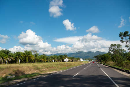 Two-lane highway next to an oil palm plantation in Colombia.
