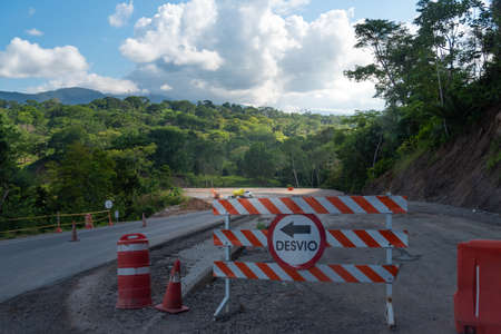 Highway detour under construction in rural area in Colombia 写真素材