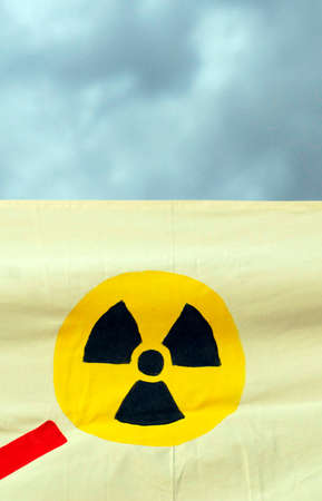 banner with radioactive warning sign
