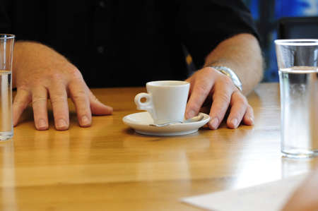 espresso and a glass of water Stok Fotoğraf