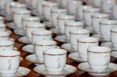 table full with coffee cups