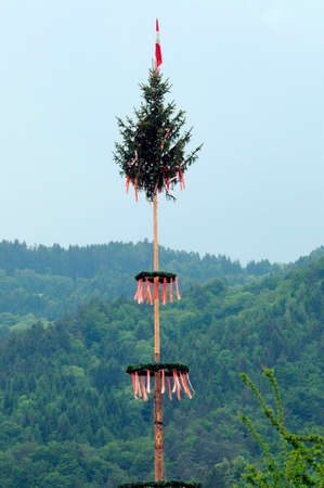 traditional maypole in the mountains of austria