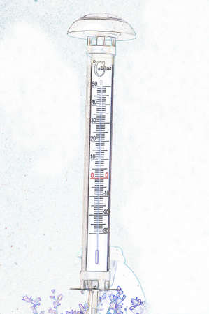 measuring the temperature with a thermometer Stock Photo