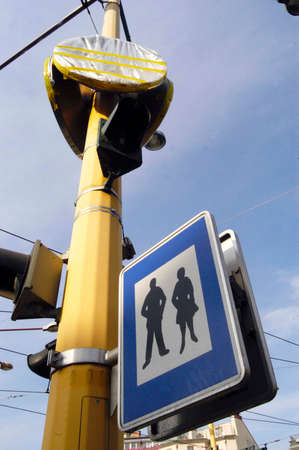 Pedestrian zone traffic sign in the city