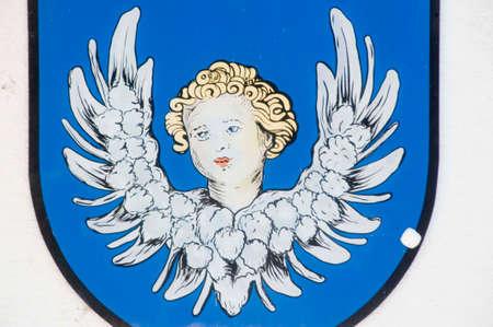 Angel illustration on blue background Фото со стока