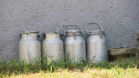 Milk cans on a dairy farm