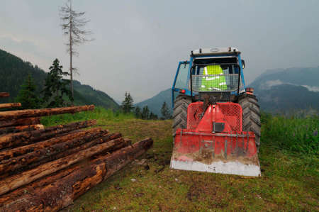 Tractor during the timber harvesting