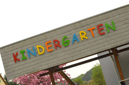 Colorful letters spelling Kindergarten on building