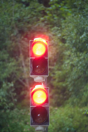 Two red traffic lights with green background