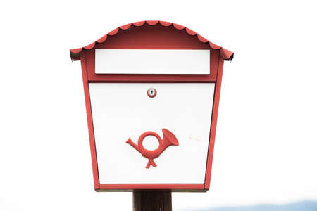 European mailbox, white and red frame