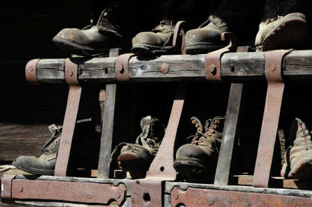 Working shoes, safety measure at work Imagens