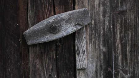Vintage wooden door, old building Stock Photo