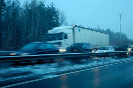 traffic jam on highway in winter
