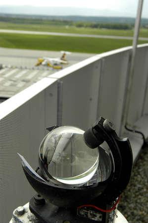 heliograph / sunshine recorder, records the amount of sunshine