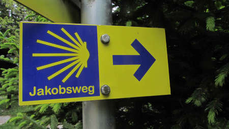 Way of St. James (Jakobsweg) or Camino de Santiago sign