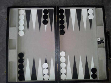 playing a game of backgammon