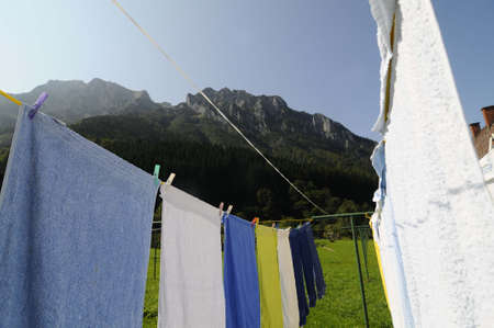 outdoor laundry drying on clothes line