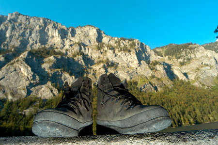 walking with hiking shoes in the alps